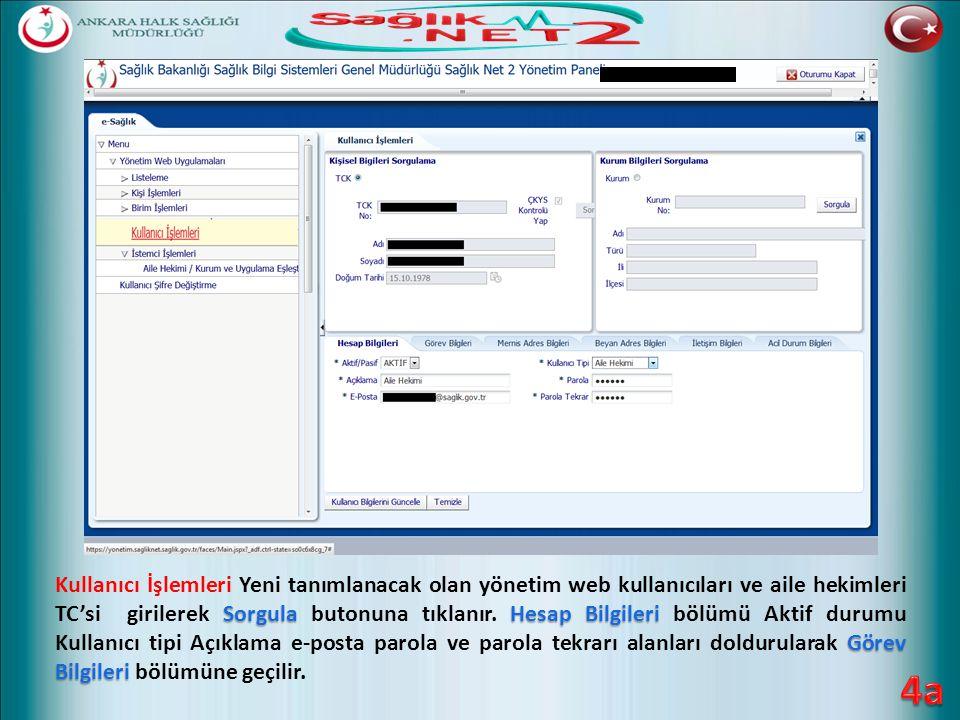 SorgulaHesap Bilgileri Görev Bilgileri Kullanıcı İşlemleri Yeni tanımlanacak olan yönetim web kullanıcıları ve aile hekimleri TC'si girilerek Sorgula