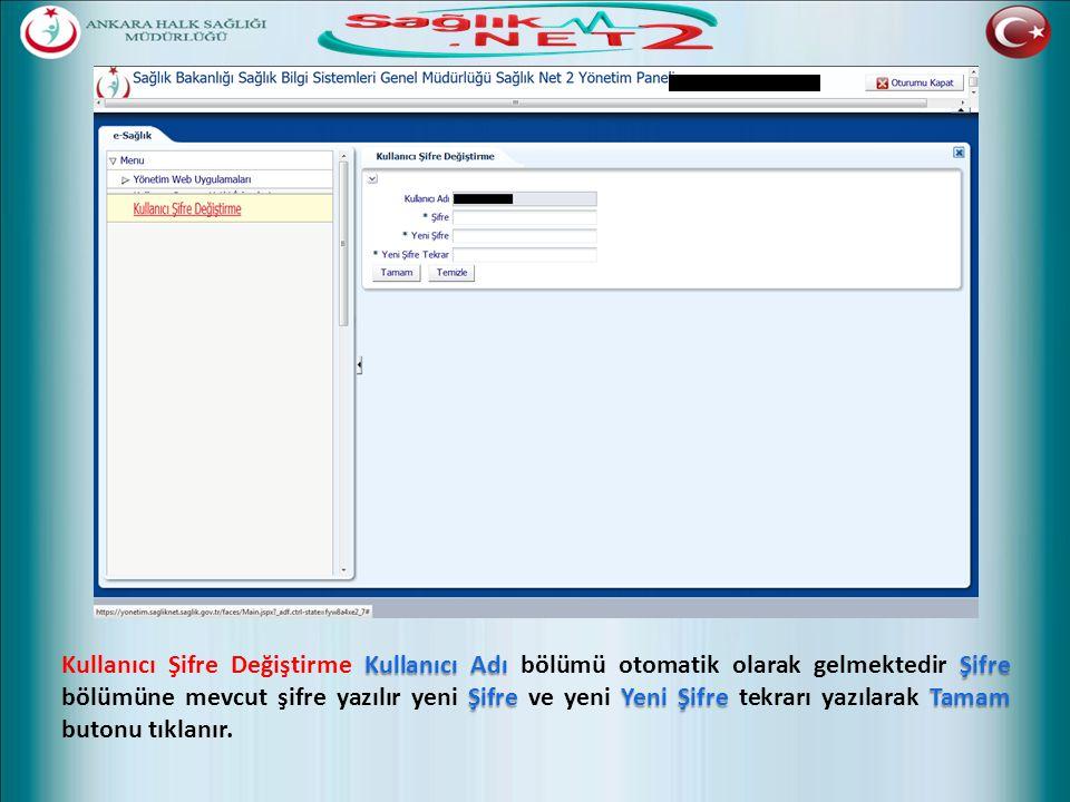 Kullanıcı AdıŞifre ŞifreYeni ŞifreTamam Kullanıcı Şifre Değiştirme Kullanıcı Adı bölümü otomatik olarak gelmektedir Şifre bölümüne mevcut şifre yazılı