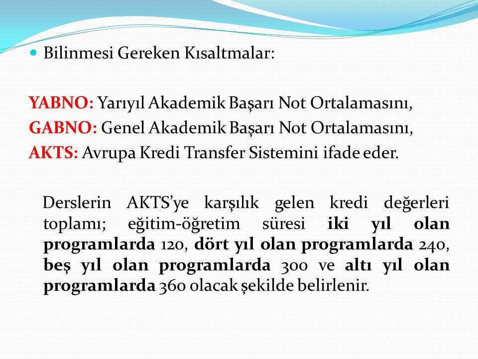  Bilinmesi Gereken Kısaltmalar: YABNO: Yarıyıl Akademik Başarı Not Ortalamasını, GABNO: Genel Akademik Başarı Not Ortalamasını, AKTS: Avrupa Kredi Tr