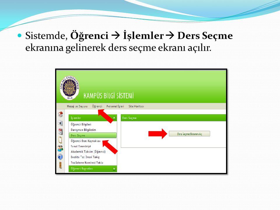  Sistemde, Öğrenci  İşlemler  Ders Seçme ekranına gelinerek ders seçme ekranı açılır.