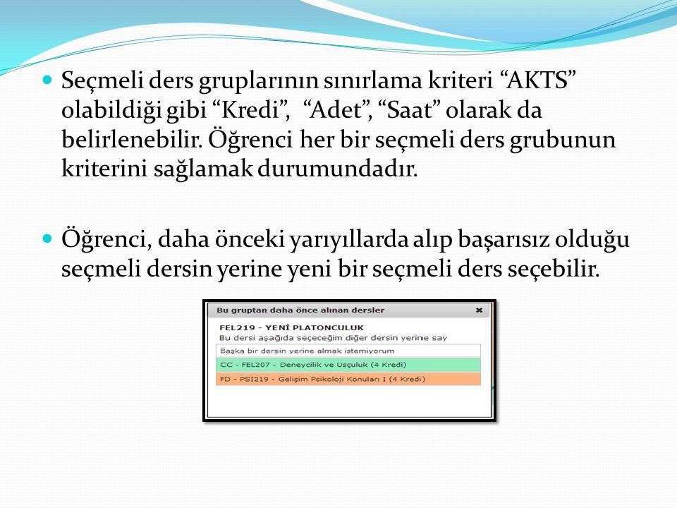  Seçmeli ders gruplarının sınırlama kriteri AKTS olabildiği gibi Kredi , Adet , Saat olarak da belirlenebilir.