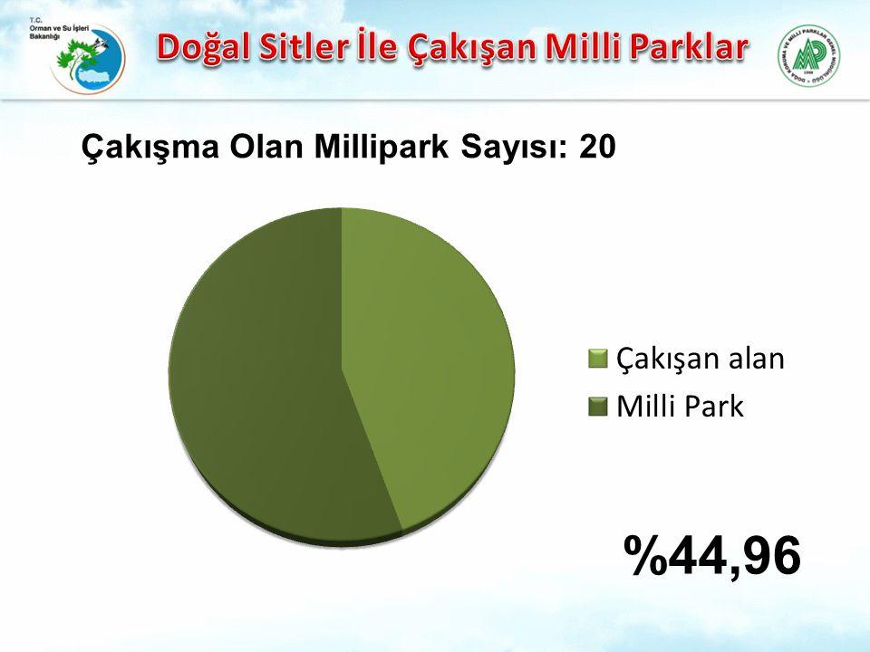 %44,96 Çakışma Olan Millipark Sayısı: 20