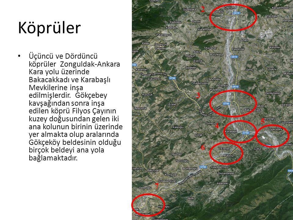 Köprüler • Üçüncü ve Dördüncü köprüler Zonguldak-Ankara Kara yolu üzerinde Bakacakkadı ve Karabaşlı Mevkilerine inşa edilmişlerdir.
