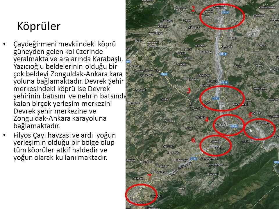 Köprüler • Çaydeğirmeni mevkiindeki köprü güneyden gelen kol üzerinde yeralmakta ve aralarında Karabaşlı, Yazıcıoğlu beldelerinin olduğu bir çok beldeyi Zonguldak-Ankara kara yoluna bağlamaktadır.