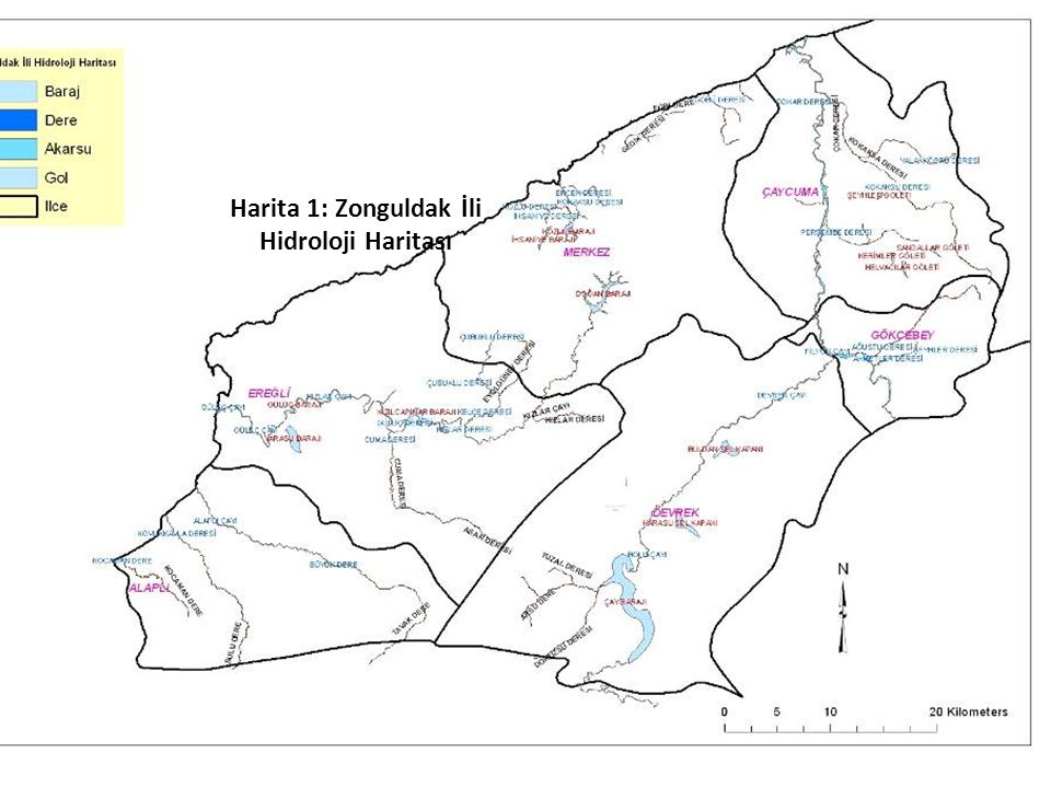 Harita 1: Zonguldak İli Hidroloji Haritası