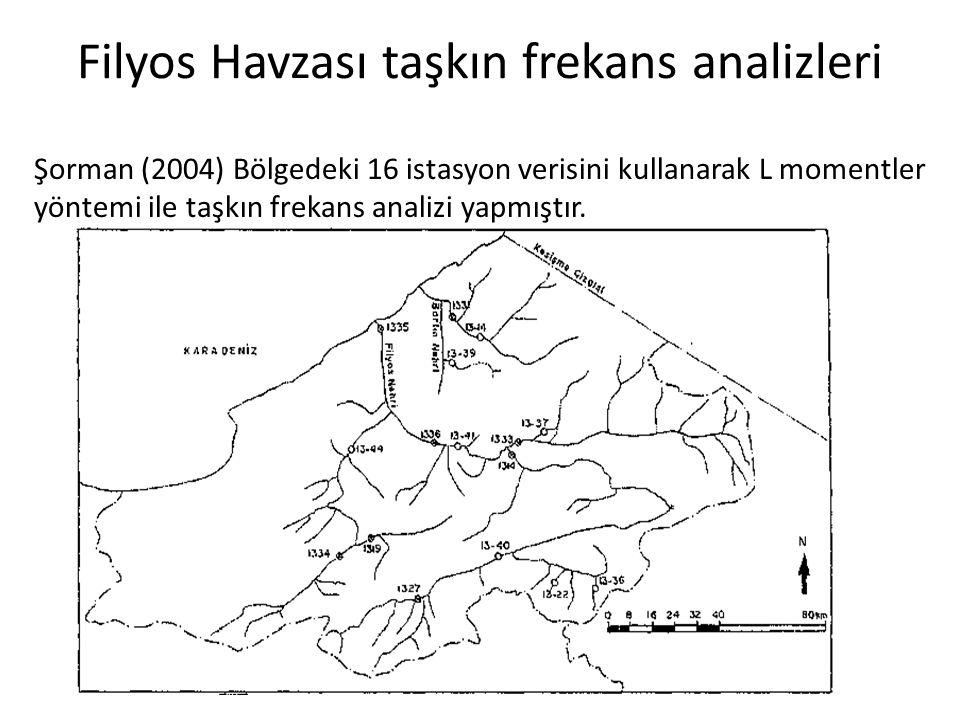 Filyos Havzası taşkın frekans analizleri Şorman (2004) Bölgedeki 16 istasyon verisini kullanarak L momentler yöntemi ile taşkın frekans analizi yapmıştır.