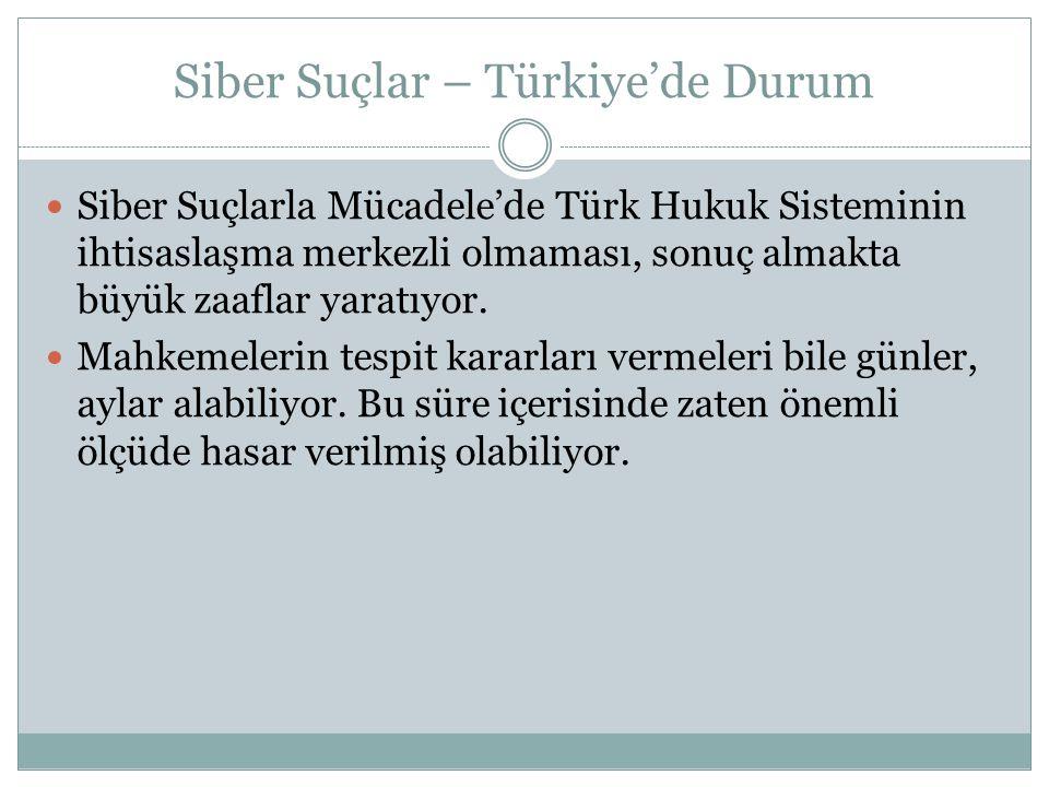 Siber Suçlar – Türkiye'de Durum  Siber Suçlarla Mücadele'de Türk Hukuk Sisteminin ihtisaslaşma merkezli olmaması, sonuç almakta büyük zaaflar yaratıy