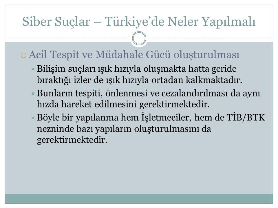 Siber Suçlar – Türkiye'de Neler Yapılmalı  Acil Tespit ve Müdahale Gücü oluşturulması  Bilişim suçları ışık hızıyla oluşmakta hatta geride bıraktığı