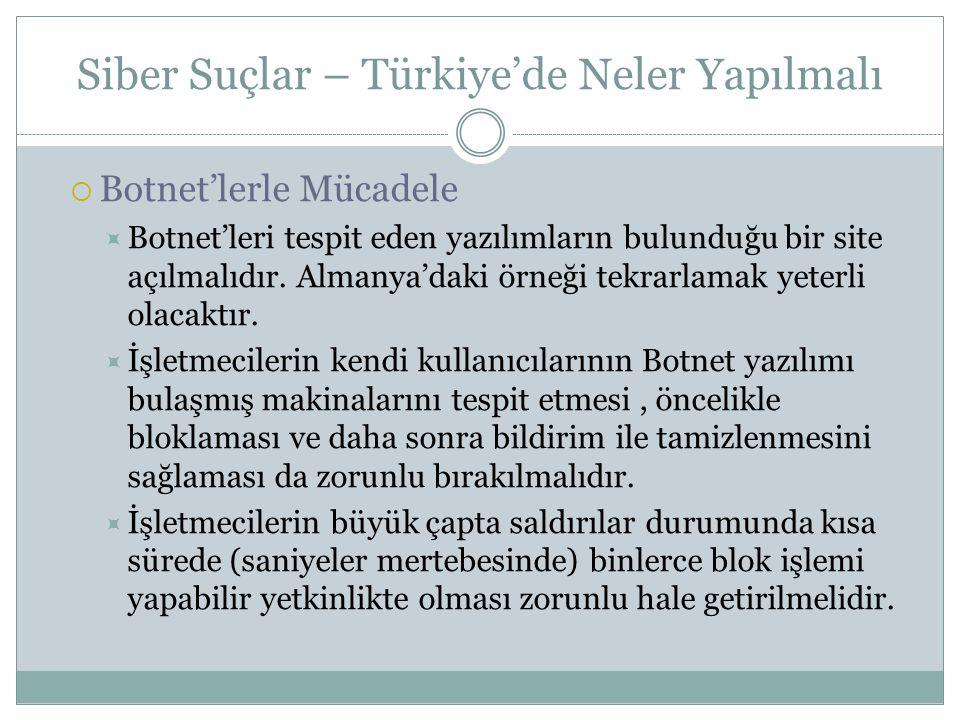 Siber Suçlar – Türkiye'de Neler Yapılmalı  Botnet'lerle Mücadele  Botnet'leri tespit eden yazılımların bulunduğu bir site açılmalıdır. Almanya'daki