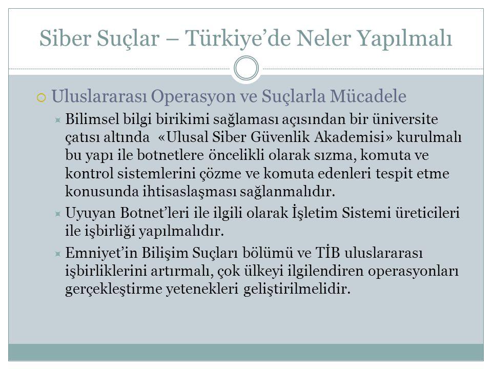 Siber Suçlar – Türkiye'de Neler Yapılmalı  Uluslararası Operasyon ve Suçlarla Mücadele  Bilimsel bilgi birikimi sağlaması açısından bir üniversite ç