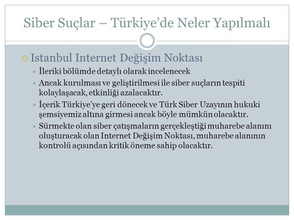 Siber Suçlar – Türkiye'de Neler Yapılmalı  Istanbul Internet Değişim Noktası  İleriki bölümde detaylı olarak incelenecek  Ancak kurulması ve gelişt