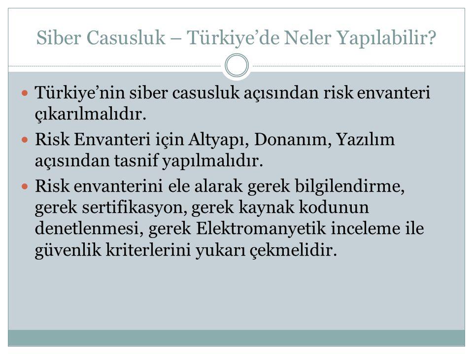 Siber Casusluk – Türkiye'de Neler Yapılabilir?  Türkiye'nin siber casusluk açısından risk envanteri çıkarılmalıdır.  Risk Envanteri için Altyapı, Do