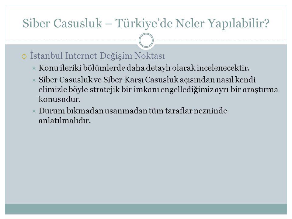 Siber Casusluk – Türkiye'de Neler Yapılabilir?  İstanbul Internet Değişim Noktası  Konu ileriki bölümlerde daha detaylı olarak incelenecektir.  Sib
