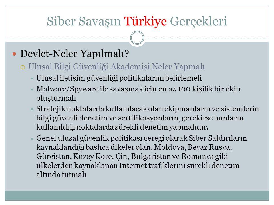 Siber Savaşın Türkiye Gerçekleri  Devlet-Neler Yapılmalı?  Ulusal Bilgi Güvenliği Akademisi Neler Yapmalı  Ulusal iletişim güvenliği politikalarını