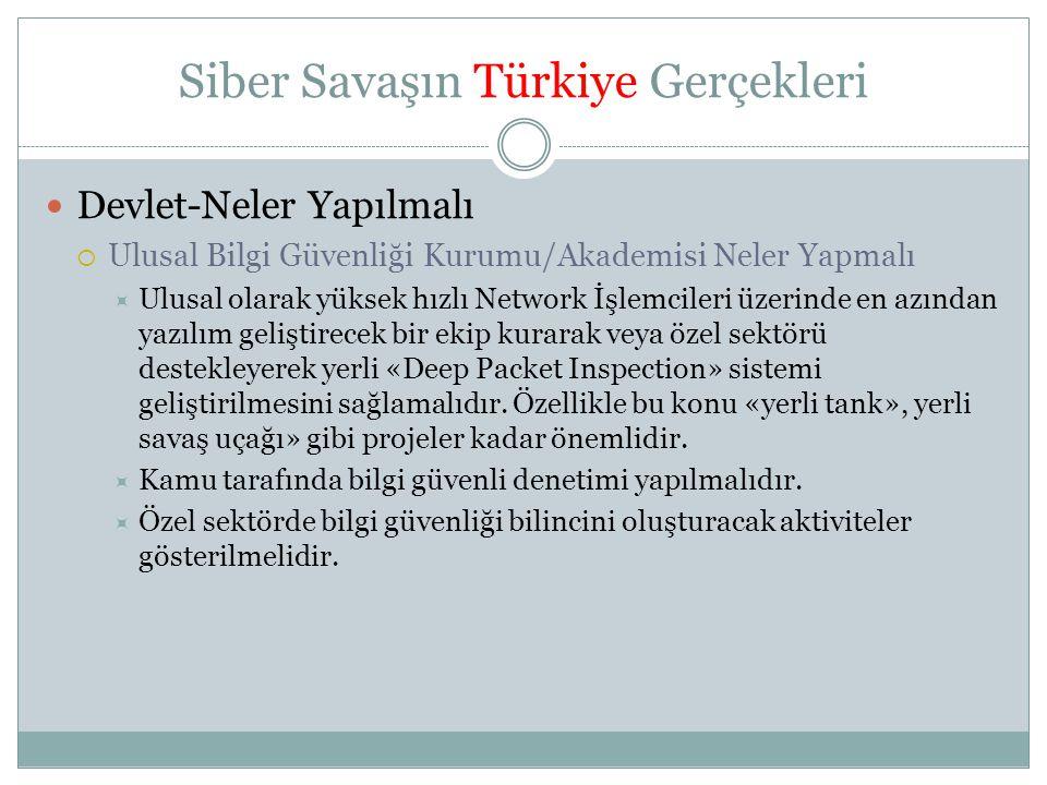Siber Savaşın Türkiye Gerçekleri  Devlet-Neler Yapılmalı  Ulusal Bilgi Güvenliği Kurumu/Akademisi Neler Yapmalı  Ulusal olarak yüksek hızlı Network
