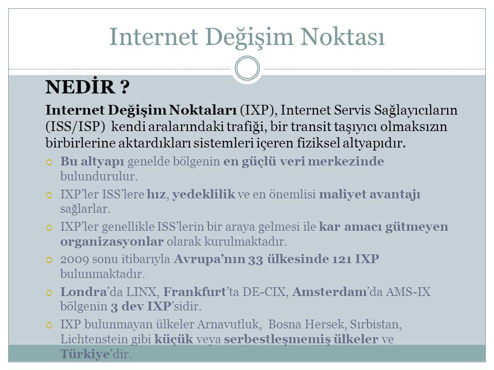 NEDİR ? Internet Değişim Noktaları (IXP), Internet Servis Sağlayıcıların (ISS/ISP) kendi aralarındaki trafiği, bir transit taşıyıcı olmaksızın birbirl