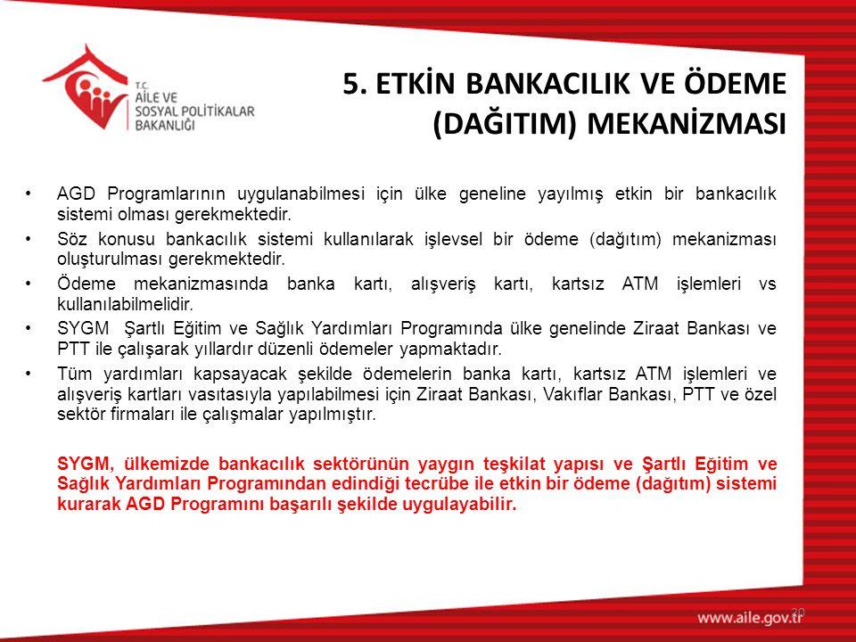 5. ETKİN BANKACILIK VE ÖDEME (DAĞITIM) MEKANİZMASI •AGD Programlarının uygulanabilmesi için ülke geneline yayılmış etkin bir bankacılık sistemi olması