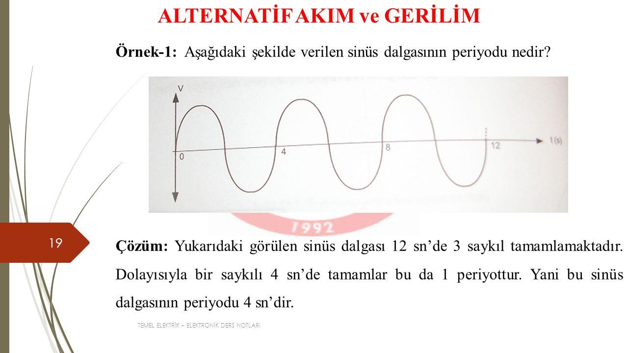 TEMEL ELEKTRİK – ELEKTRONİK DERS NOTLARI 19 ALTERNATİF AKIM ve GERİLİM Örnek-1: Aşağıdaki şekilde verilen sinüs dalgasının periyodu nedir? Çözüm: Yuka