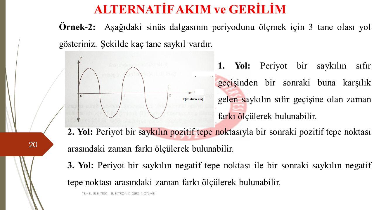 TEMEL ELEKTRİK – ELEKTRONİK DERS NOTLARI 20 ALTERNATİF AKIM ve GERİLİM Örnek-2: Aşağıdaki sinüs dalgasının periyodunu ölçmek için 3 tane olası yol gösteriniz.