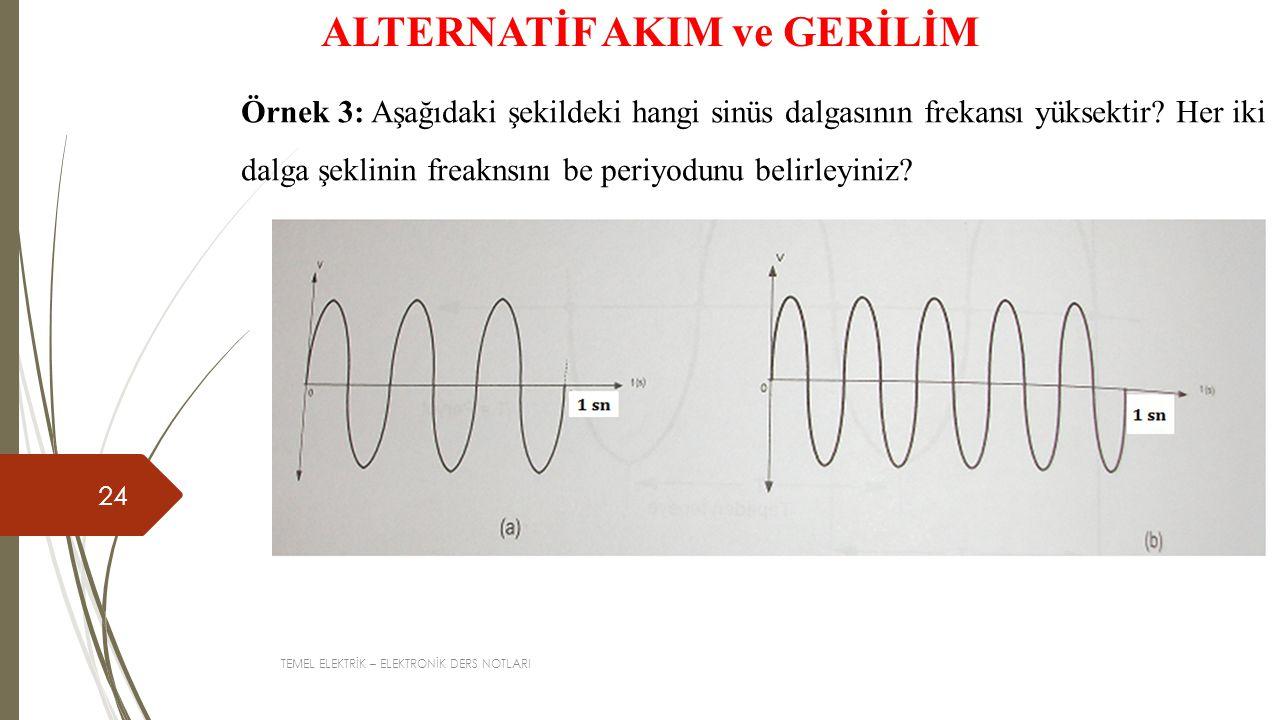 TEMEL ELEKTRİK – ELEKTRONİK DERS NOTLARI 24 ALTERNATİF AKIM ve GERİLİM Örnek 3: Aşağıdaki şekildeki hangi sinüs dalgasının frekansı yüksektir? Her iki