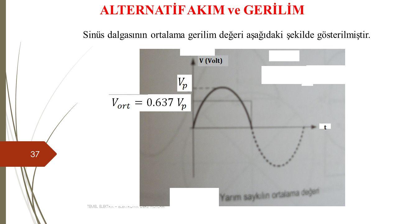 TEMEL ELEKTRİK – ELEKTRONİK DERS NOTLARI 37 ALTERNATİF AKIM ve GERİLİM Sinüs dalgasının ortalama gerilim değeri aşağıdaki şekilde gösterilmiştir.