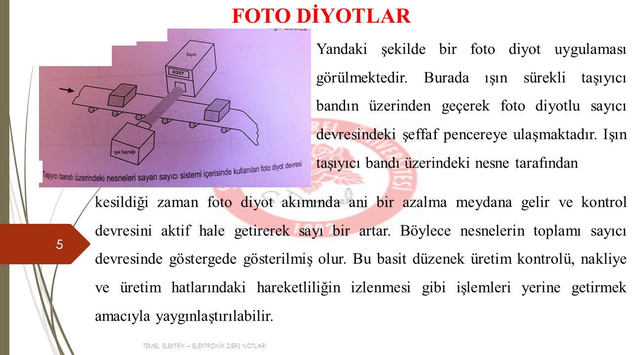 TEMEL ELEKTRİK – ELEKTRONİK DERS NOTLARI 5 FOTO DİYOTLAR Yandaki şekilde bir foto diyot uygulaması görülmektedir.