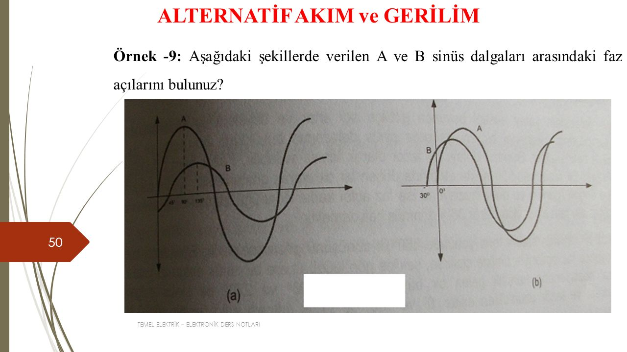 TEMEL ELEKTRİK – ELEKTRONİK DERS NOTLARI 50 ALTERNATİF AKIM ve GERİLİM Örnek -9: Aşağıdaki şekillerde verilen A ve B sinüs dalgaları arasındaki faz açılarını bulunuz?