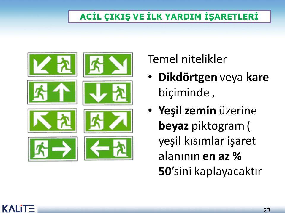 23 ACİL ÇIKIŞ VE İLK YARDIM İŞARETLERİ Temel nitelikler • Dikdörtgen veya kare biçiminde, • Yeşil zemin üzerine beyaz piktogram ( yeşil kısımlar işaret alanının en az % 50'sini kaplayacaktır