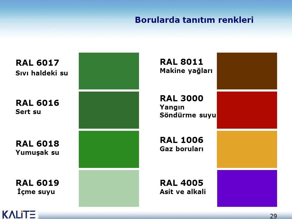 29 RAL 6017 Sıvı haldeki su RAL 6016 Sert su RAL 6018 Yumuşak su RAL 6019 İçme suyu RAL 8011 Makine yağları RAL 3000 Yangın Söndürme suyu RAL 1006 Gaz