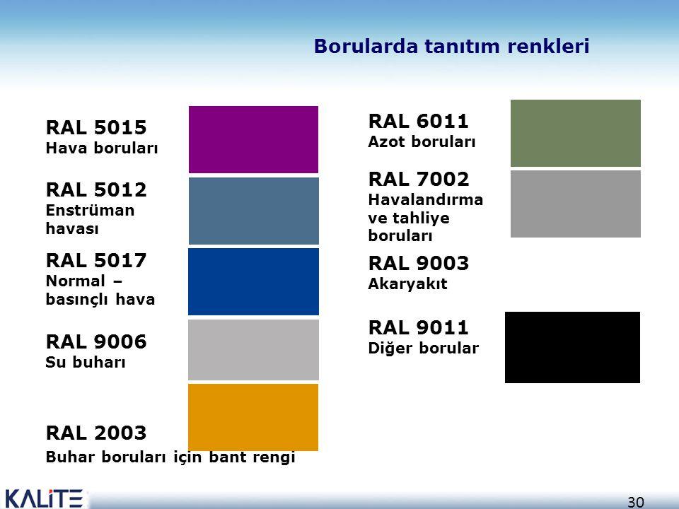 30 RAL 2003 Buhar boruları için bant rengi RAL 5015 Hava boruları RAL 5012 Enstrüman havası RAL 5017 Normal – basınçlı hava RAL 9011 Diğer borular RAL