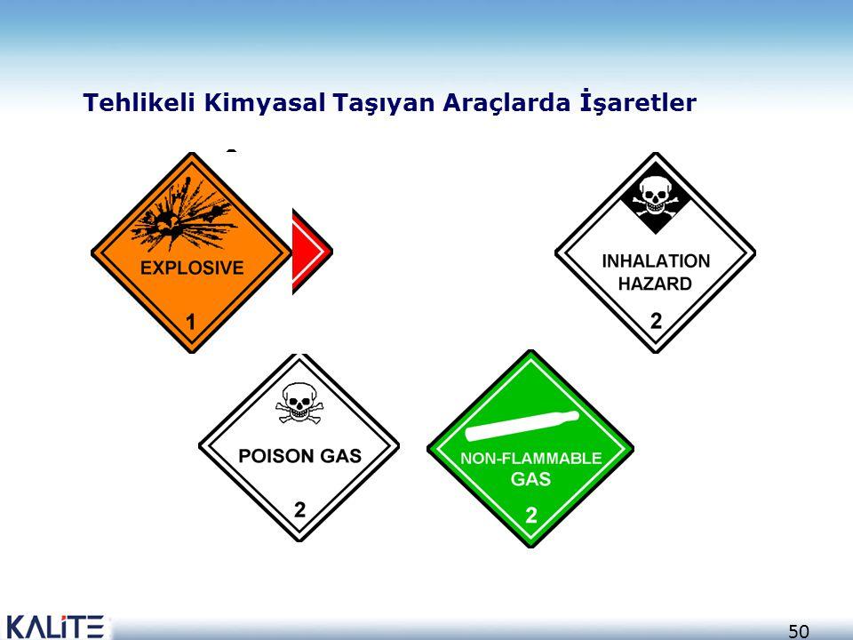 50 Tehlikeli Kimyasal Taşıyan Araçlarda İşaretler
