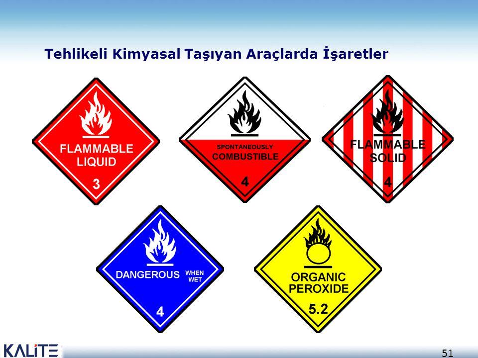 51 Tehlikeli Kimyasal Taşıyan Araçlarda İşaretler