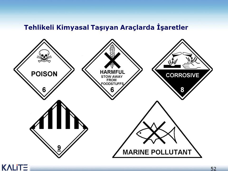 52 Tehlikeli Kimyasal Taşıyan Araçlarda İşaretler