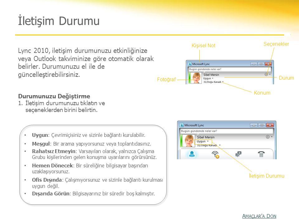 İletişim Durumu Lync 2010, iletişim durumunuzu etkinliğinize veya Outlook takviminize göre otomatik olarak belirler. Durumunuzu el ile de güncelleştir