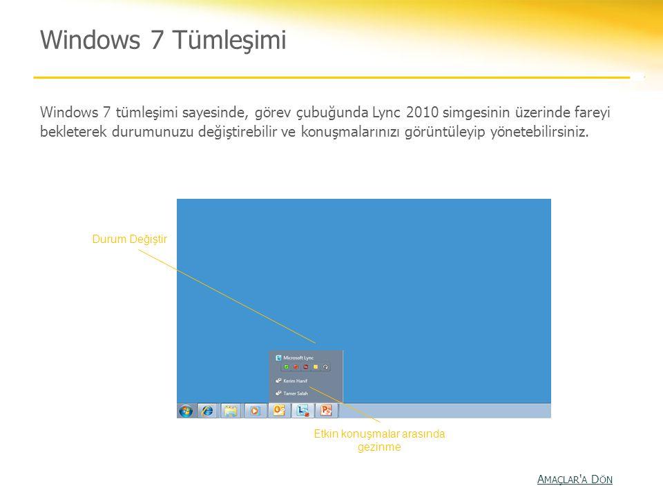 Windows 7 Tümleşimi Windows 7 tümleşimi sayesinde, görev çubuğunda Lync 2010 simgesinin üzerinde fareyi bekleterek durumunuzu değiştirebilir ve konuşm