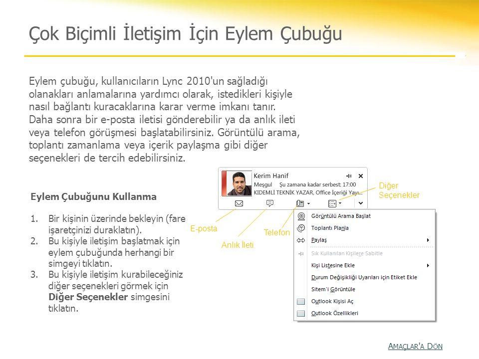 Çok Biçimli İletişim İçin Eylem Çubuğu Eylem çubuğu, kullanıcıların Lync 2010'un sağladığı olanakları anlamalarına yardımcı olarak, istedikleri kişiyl