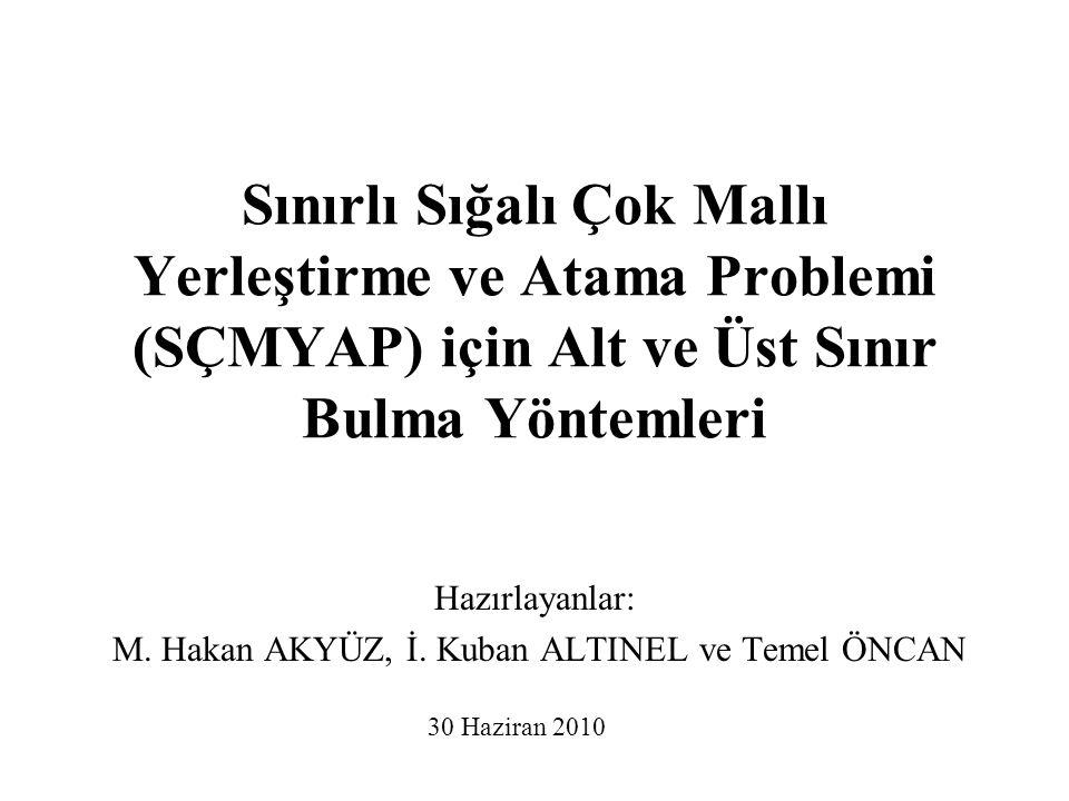 Sınırlı Sığalı Çok Mallı Yerleştirme ve Atama Problemi (SÇMYAP) için Alt ve Üst Sınır Bulma Yöntemleri Hazırlayanlar: M.