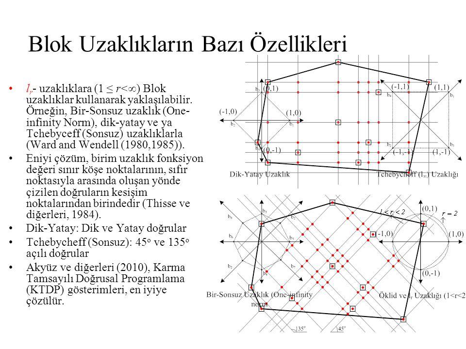 Blok Uzaklıkların Bazı Özellikleri •l r - uzaklıklara (1 ≤ r<∞) Blok uzaklıklar kullanarak yaklaşılabilir.