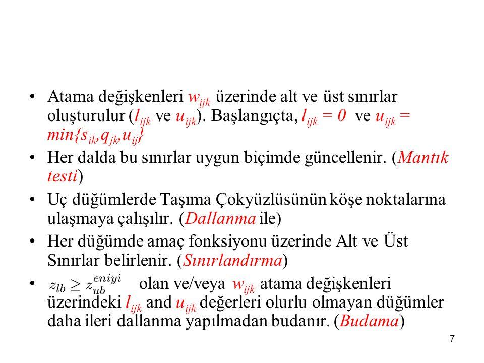7 •Atama değişkenleri w ijk üzerinde alt ve üst sınırlar oluşturulur (l ijk ve u ijk ).