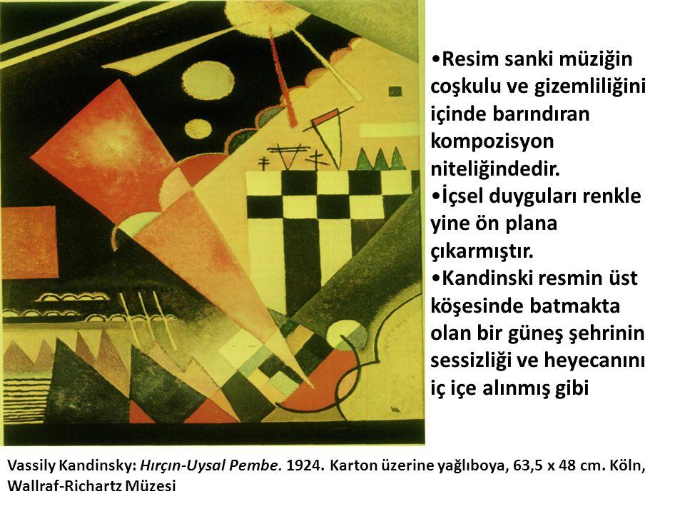 Vassily Kandinsky: Hırçın-Uysal Pembe. 1924. Karton üzerine yağlıboya, 63,5 x 48 cm. Köln, Wallraf-Richartz Müzesi •Resim sanki müziğin coşkulu ve giz