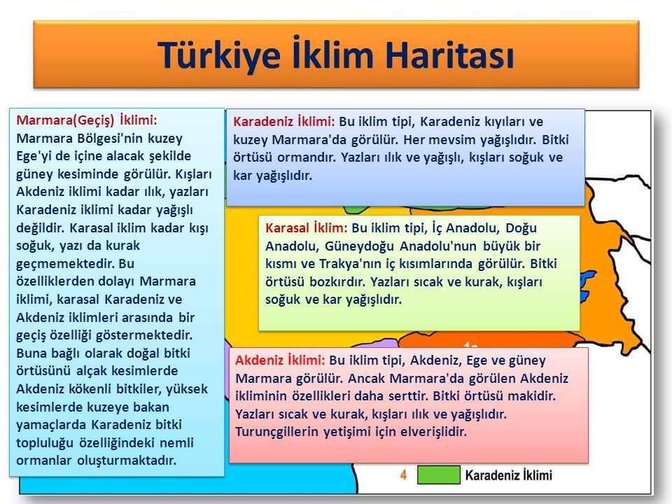 Türkiye İklim Haritası Karadeniz İklimi: Bu iklim tipi, Karadeniz kıyıları ve kuzey Marmara'da görülür. Her mevsim yağışlıdır. Bitki örtüsü ormandır.