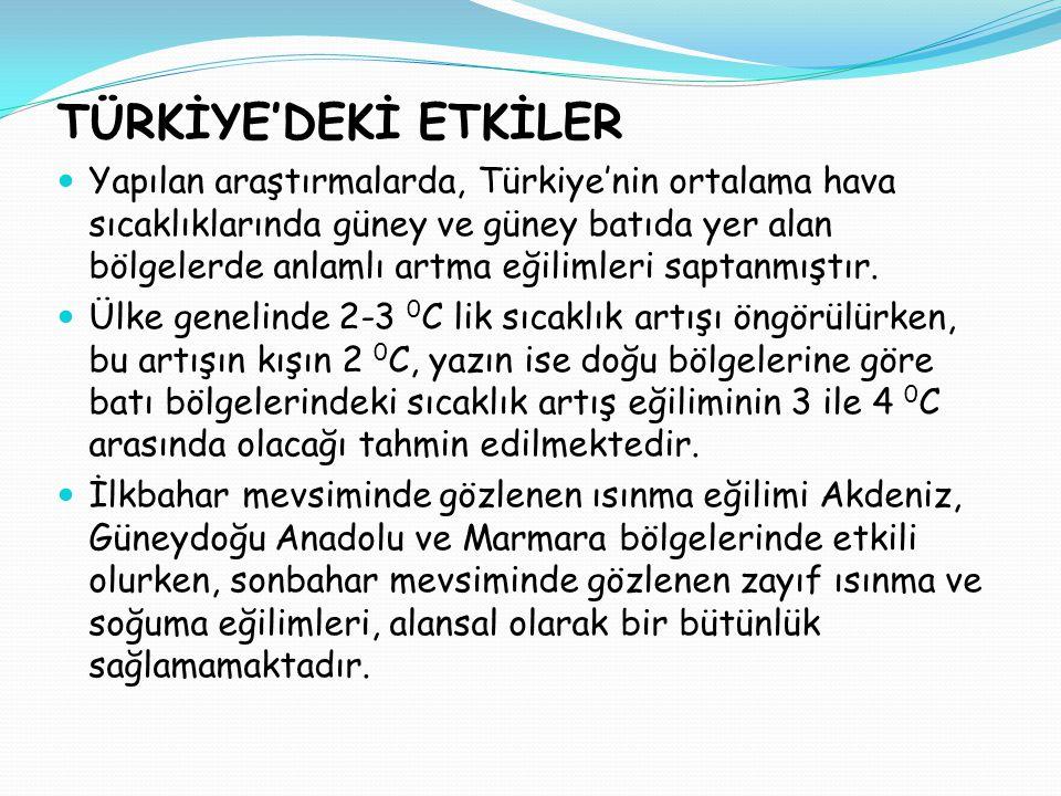 TÜRKİYE'DEKİ ETKİLER  Yapılan araştırmalarda, Türkiye'nin ortalama hava sıcaklıklarında güney ve güney batıda yer alan bölgelerde anlamlı artma eğilimleri saptanmıştır.