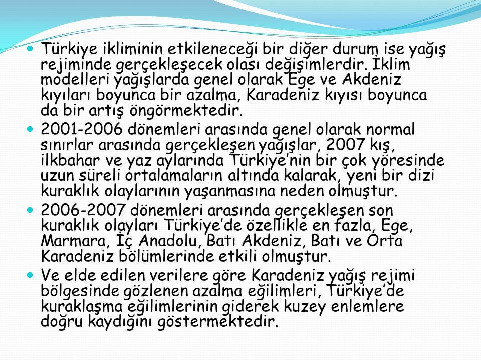  Türkiye ikliminin etkileneceği bir diğer durum ise yağış rejiminde gerçekleşecek olası değişimlerdir. İklim modelleri yağışlarda genel olarak Ege ve