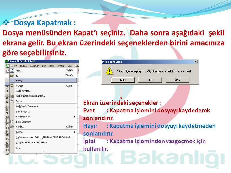 11  Dosya Kapatmak : Dosya menüsünden Kapat'ı seçiniz. Daha sonra aşağıdaki şekil ekrana gelir. Bu ekran üzerindeki seçeneklerden birini amacınıza gö