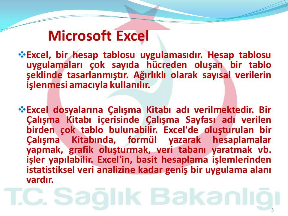  Excel, bir hesap tablosu uygulamasıdır. Hesap tablosu uygulamaları çok sayıda hücreden oluşan bir tablo şeklinde tasarlanmıştır. Ağırlıklı olarak sa