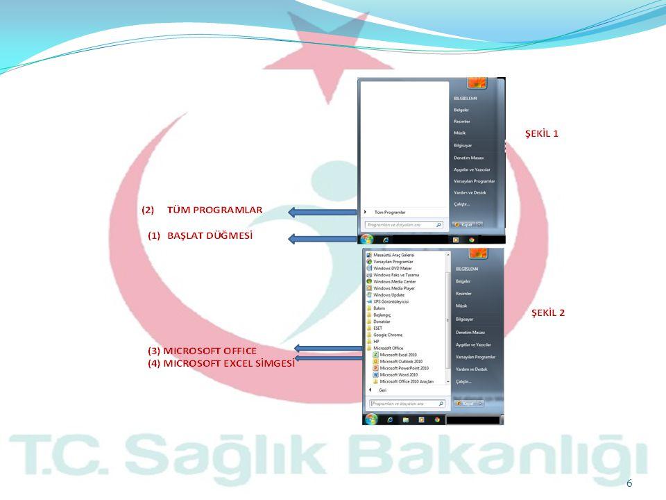 7 1.Microsoft Excel İle Çalışmak 1.Microsoft Excel Ekranı