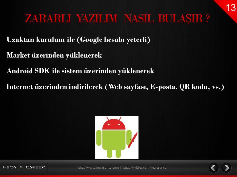 Uzaktan kurulum ile (Google hesabı yeterli) Market üzerinden yüklenerek http://www.mertsarica.com | http://twitter.com/mertsarica Android SDK ile sist