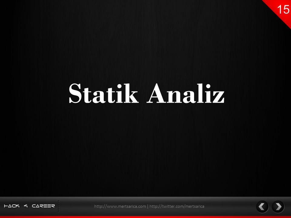 Statik Analiz http://www.mertsarica.com | http://twitter.com/mertsarica