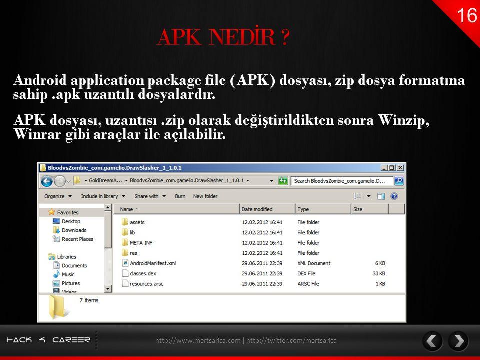 Android application package file (APK) dosyası, zip dosya formatına sahip.apk uzantılı dosyalardır. http://www.mertsarica.com | http://twitter.com/mer