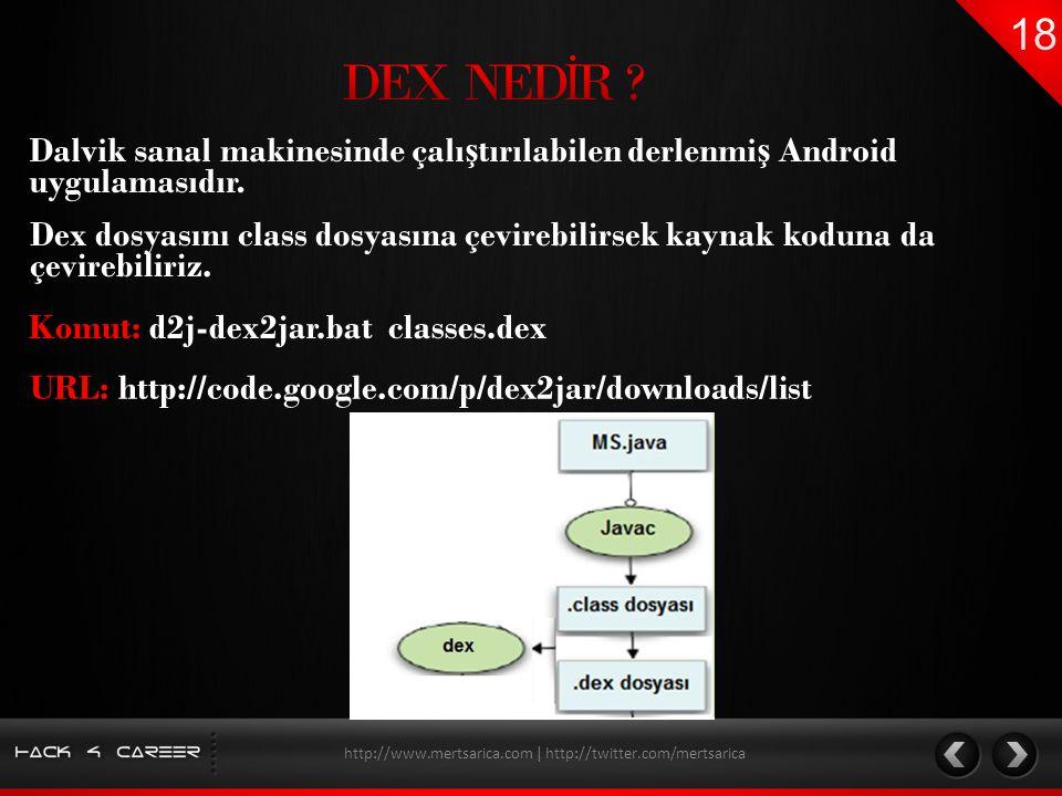 Dalvik sanal makinesinde çalı ş tırılabilen derlenmi ş Android uygulamasıdır. http://www.mertsarica.com | http://twitter.com/mertsarica Dex dosyasını